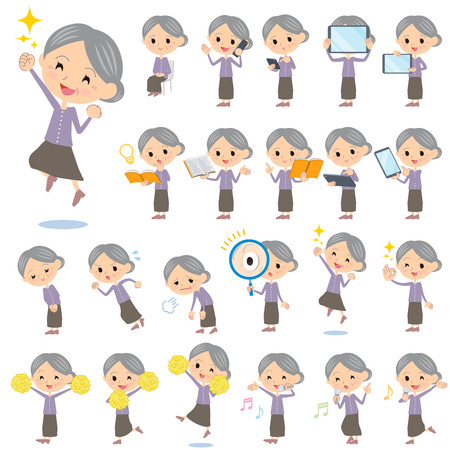 cheer: Set of various poses of Purple clothes grandmother 2 Illustration