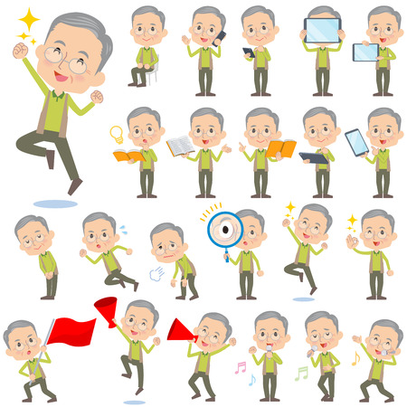 Set of various poses of Green vest grandfather 2