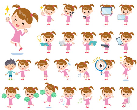 Set of various poses of Pink clothing girl 2  イラスト・ベクター素材