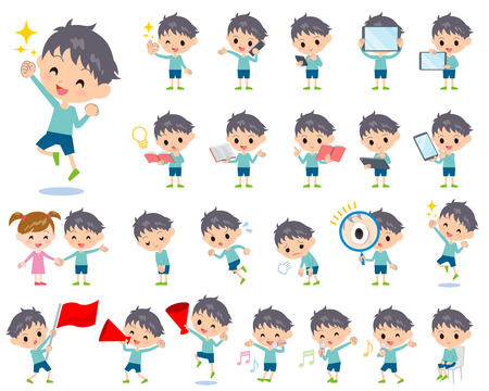 magnifying glass: Set of various poses of blue clothing boy 2