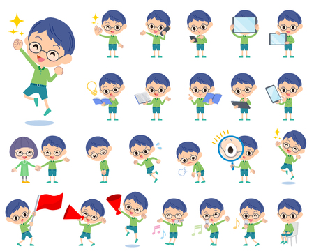 Set of various poses of Green clothing glasses boy 2