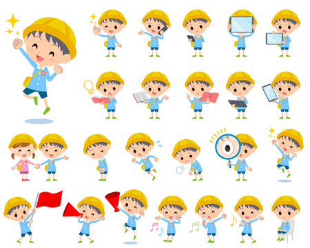nursery school: Set of various poses of Nursery school boy 2 Illustration
