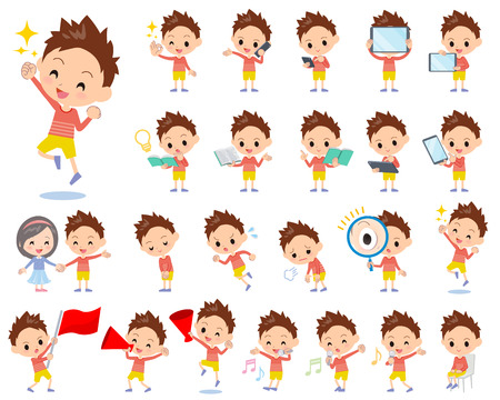 Set of various poses of Red clothing short hair boy 2