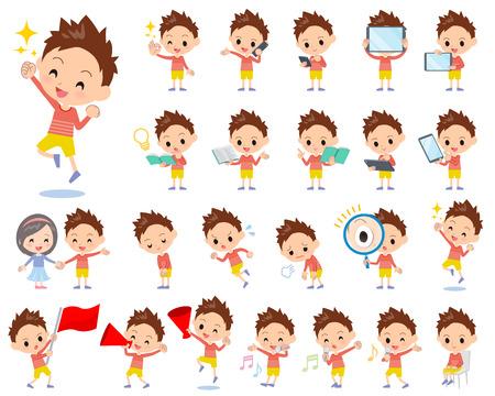Conjunto de varias poses de ropa de pelo corto rojo de niño de 2
