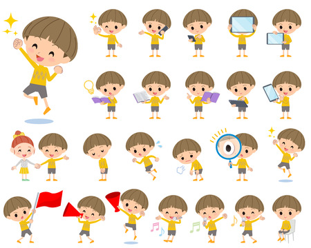 Set of various poses of Yellow clothes Bobbed boy 2 Illustration