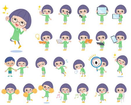 Satz von verschiedenen Posen der grüne Kleidung Bobbed Brille Mädchen 2 Vektorgrafik