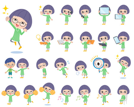 bobbed: Set of various poses of Green clothes Bobbed Glasses girl 2