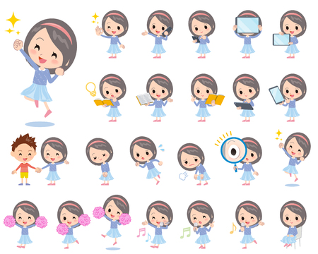 Set of various poses of Blue clothes headband girl 2