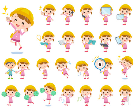 Set of various poses of Nursery school girl 2 矢量图像