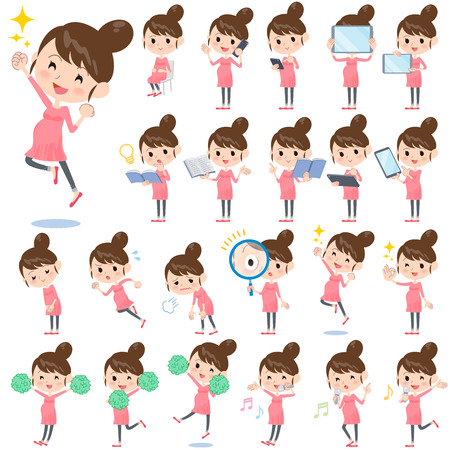 Set of various poses of Pregnant woman 2