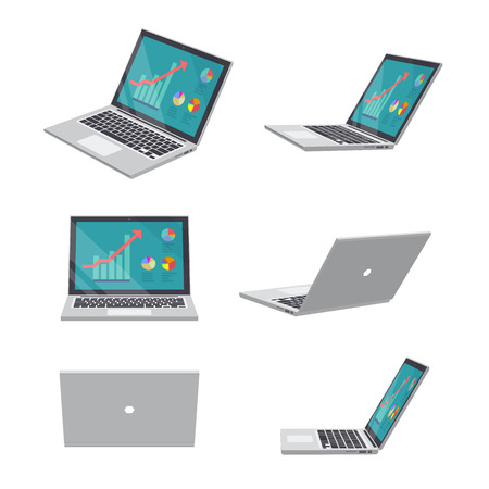 Set of various poses of 3D Laptop business