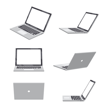 Set of various poses of 3D Laptop blank