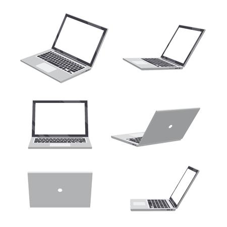 Set van verschillende poses van de 3D-laptop leeg Stock Illustratie
