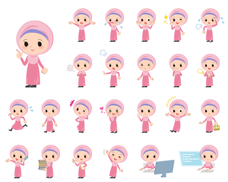 arab girl: Jeu de différentes poses de fille arabe Illustration