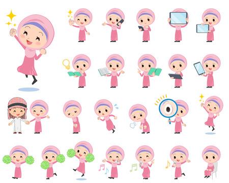 Set of various poses of Arab girl 2