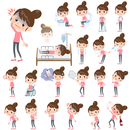 Set of various poses of Bun hair mom Pants style About the sickness