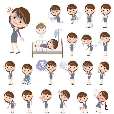 woman headache: Set of various poses of Gray suit business woman About the sickness