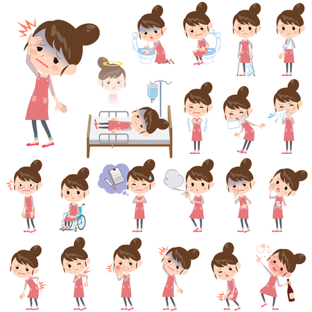 abdominal pain: Set of various poses of Ballet Bun hair Apron mom About the sickness Illustration