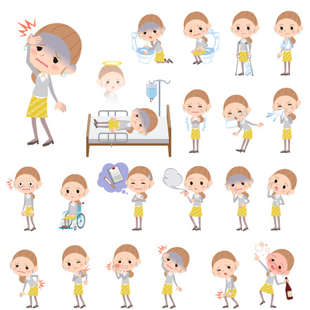 Set of various poses of Behind knot hair yellow floral skirt woman About the sickness