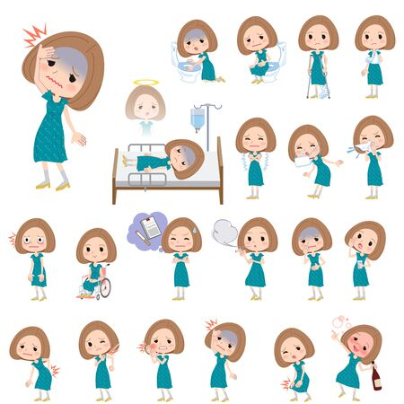 Set of various poses of Bob hair green dress women About the sickness