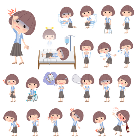 hospitalization: Set of various poses of Mash hair blue cardigan women About the sickness