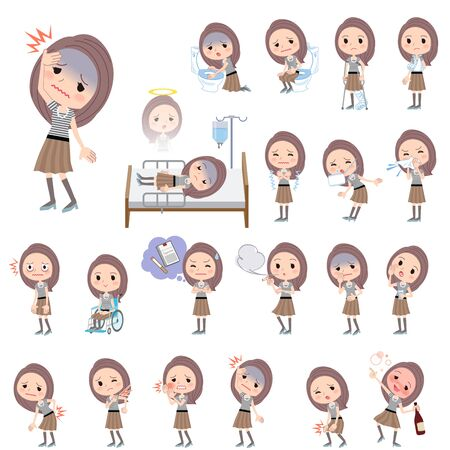 sore eye: Set of various poses of Long hair border T shirt woman About the sickness