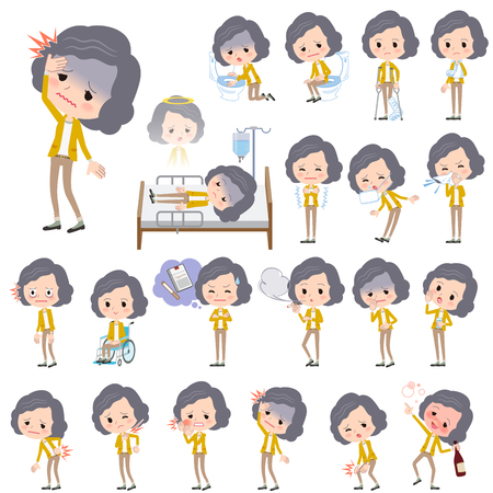 middle aged woman: Set of various poses of Yellow jacket Middle woman About the sickness