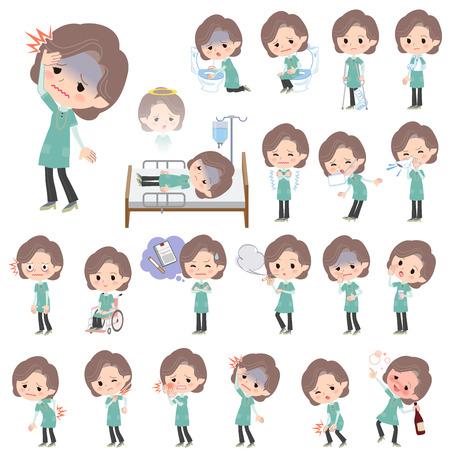 Conjunto de varias actitudes de la mujer túnica azul media-verde Sobre la enfermedad