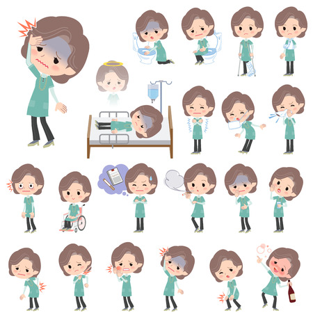 middle aged woman: Set of various poses of Blue-green tunic Middle woman About the sickness