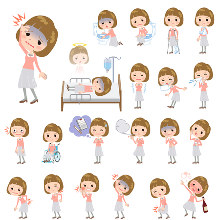 hay fever: Set of various poses of Straight bangs hair pink blouse women About the sickness Illustration