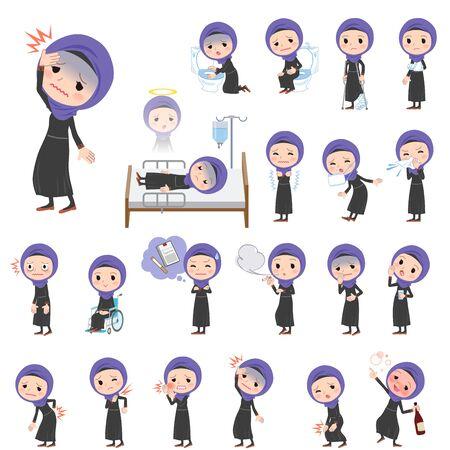mulher: Jogo de várias poses das mulheres árabes Sobre a doença