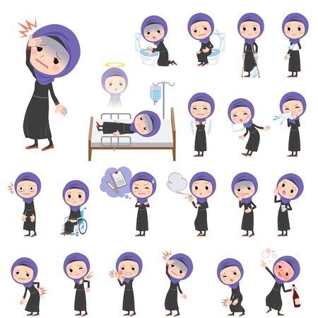 woman headache: Set of various poses of Arab women About the sickness