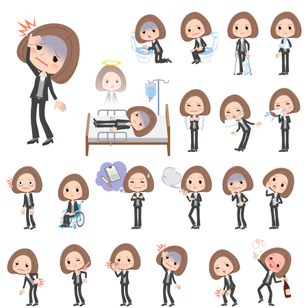 hay fever: Set of various poses of Black jacket pants business woman About the sickness Illustration