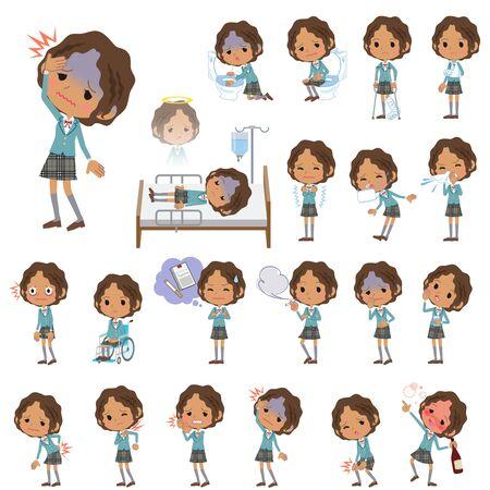 vomito: Conjunto de varias poses de niña de la escuela Negro Acerca de la enfermedad Vectores