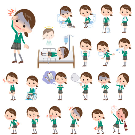 abdominal pain: Set of various poses of school girl Green Blazer About the sickness Illustration