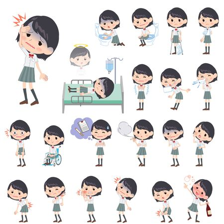 vomiting: Set of various poses of schoolgirl White shortsleeved shirt About the sickness Illustration