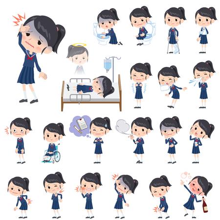 vomito: Conjunto de varias actitudes de juego de marinero del chica de la escuela Sobre la enfermedad Vectores