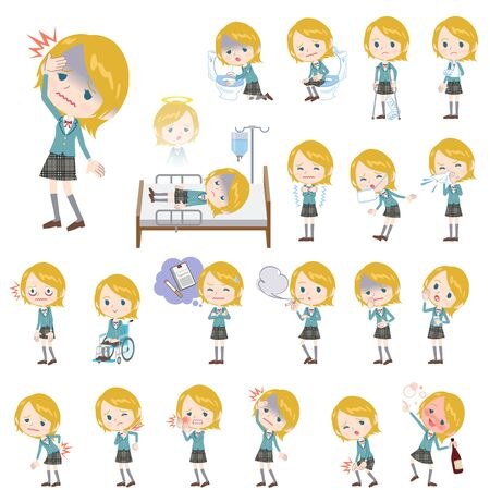 sneezing: Set of various poses of Schoolgirl Caucasian About the sickness