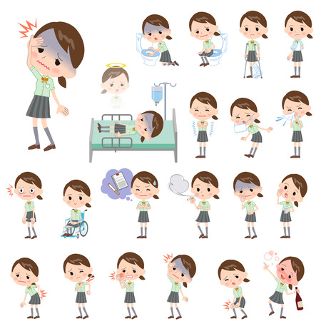 middle joint: Set of various poses of schoolgirl Green shortsleeved shirt About the sickness