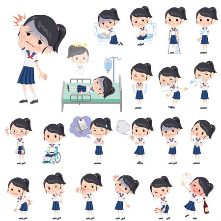Set of various poses of schoolgirl shortsleeved shirt Sailor suit About the sickness
