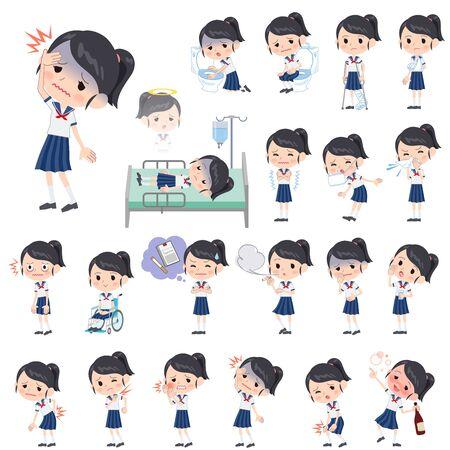Set van verschillende poses van schoolmeisje shortsleeved overhemd Sailor kostuum over de ziekte