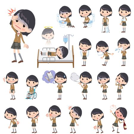 hay fever: Set of various poses of school girl Brown Blazer About the sickness Illustration
