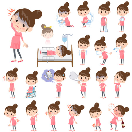 Set of various poses of Pregnant woman About the sickness