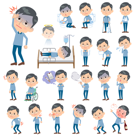 hospitalization: Set of various poses of Blue clothing glass dad About the sickness