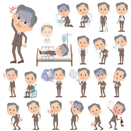病気についてダブルスーツひげ老人の様々 なポーズの設定します。  イラスト・ベクター素材
