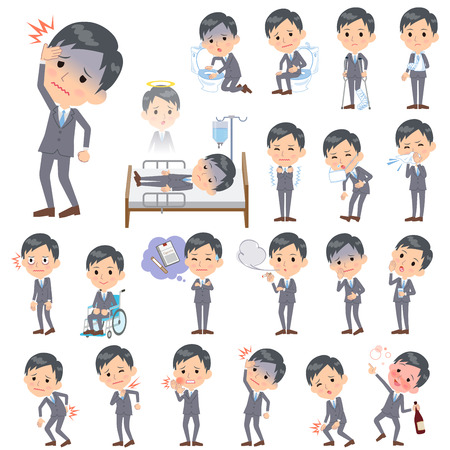 Set of various poses of Gray Suit Businessman About the sickness