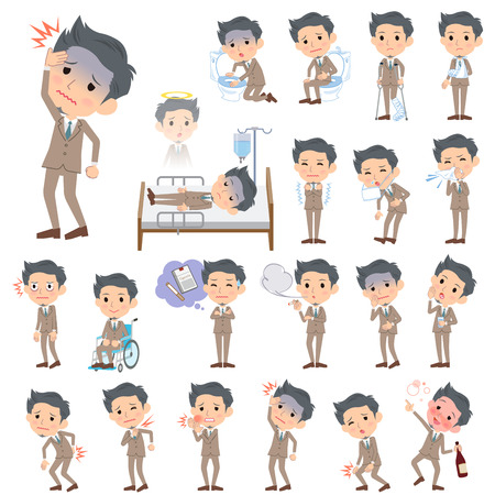 sore eye: Set of various poses of Beige suit short hair beard man About the sickness Illustration