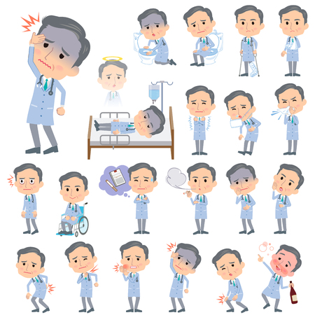 hay fever: Set of various poses of Doctor About the sickness Illustration