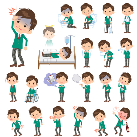 hay fever: Set of various poses of schoolboy Green Blazer About the sickness Illustration