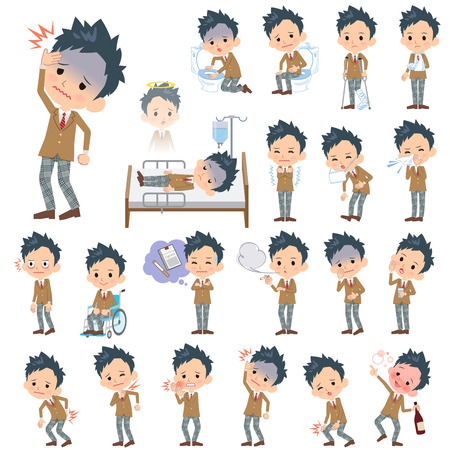 blazer: Set of various poses of school boy Brown Blazer About the sickness